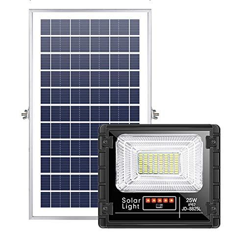 MOMEX Faro Solare LED Esterno 25W IP67 6500k Bianco Freddo Faretto con Telecomando Pannello LED Solare Fotovoltalco Energia (25)