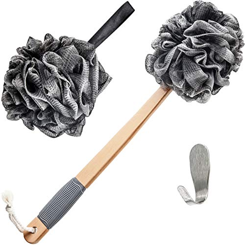Loofah Back Scrubber For Shower | Bath Sponge | Lufas For Men & Women | Includes 1 Long Handled Shower Sponge, 1 Bath & Shower Luffa Pouf & 1 Hook To Hang Stuff | Charcoal Infused