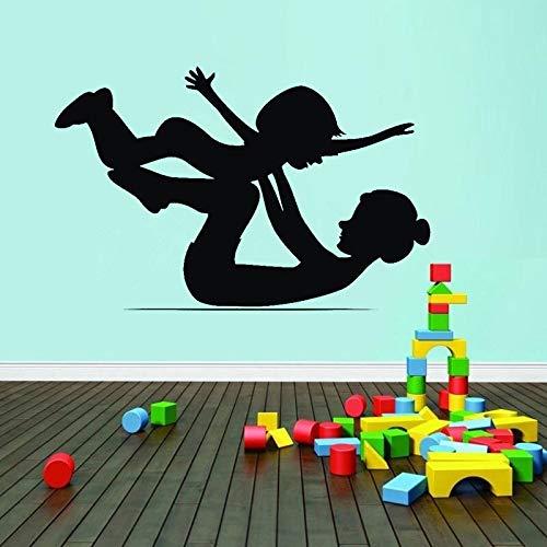 ganlanshu Mutter und Baby Gymnastik Kunst Wandaufkleber Raumdekoration Wandtattoos für Kinder Kleinkinder Kindergarten Übungsraum 102cmx165cm