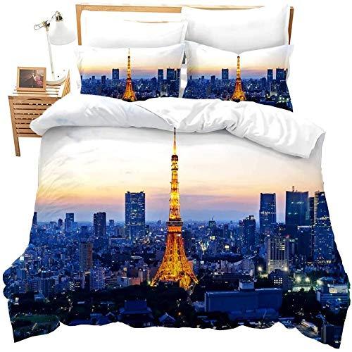 zzkds Niñoscompletos para Juego de Ropa de Cama de la Torre Eiffel 3D Francia París Monumentos Imprimir Funda de edredón Ative Cubierta de Colcha de Paisaje Urbano ModernoOro Azul