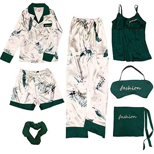 MWBLN Conjunto de 7 Piezas de Pijama de Mujer Elegante, Bata de salón de Seda.XL 7jianlvbianbaihehua