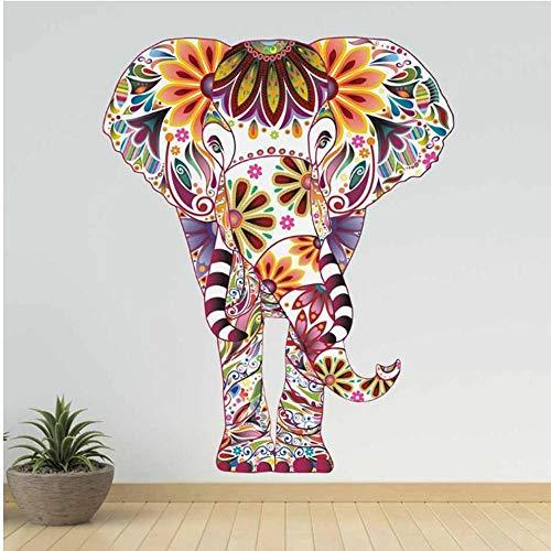 ZXIU Pegatinas de Pared Patrón De Flores Animal Elefante Etiqueta De La Pared PVC Extraíble Calcomanías Retro Papel Pintado Étnico para La Sala De Estar Decoración del Hogar