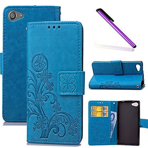 COTDINFOR Sony Xperia Z5 Mini Hülle für Mädchen Elegant Retro Premium PU Lederhülle Handy Tasche im Bookstyle mit Magnet Standfunktion Schutz Etui für Sony Xperia Z5 Mini Clover Blue SD.
