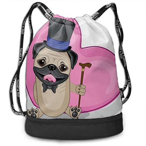 NoBrand Drawstring Backpack String Bag Casual, D3236 Presentable Funny Dog With A Top Hat And A Cane In Front Of A Giant Heart