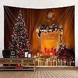 WERT Chimenea Tapiz de árbol de Navidad Decoración de Navidad Tapiz de Tela de Fondo de Tela Colgante A11 150x200cm