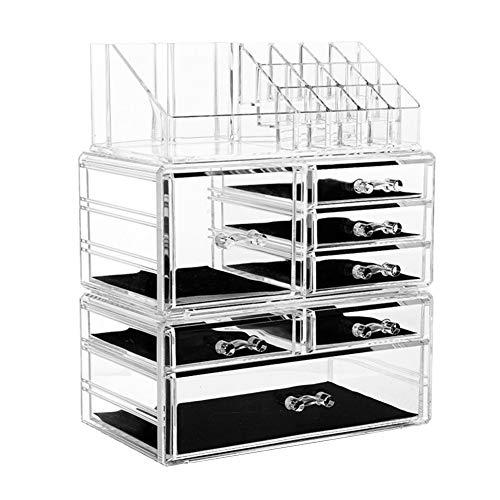 YJingMM Caja Organizadora Caja Cristal Organizador De Maquillaje Cajones Joyero Cristal Multiusos Simplicidad Moderna Bandeja