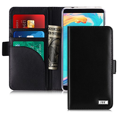 Fyy Huawei Mate 10 Pro ケース, [羊本革] [RFIDブロッキング] ハンドメイド 耐衝撃 横開き 手帳型 保護ケース カード収納 定期入れ スタンド機能付き マグネット式 財布型カバー スマホケース ブラック