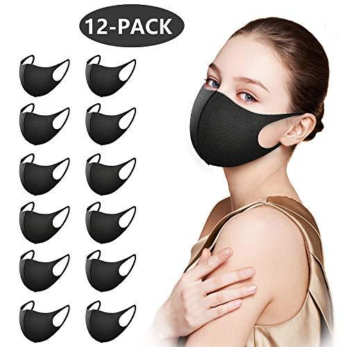 12 Stück Mundschutz Maske,Staub Gesichtsmaske, Fashion Unisex Face Masks, Wiederverwendbare und waschbare Maske zum Laufen, Radfahren, Skifahren, Outdoor-Aktivitäten (schwarz)