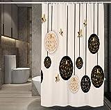 JOVEGSRVA Cortina de ducha de tela a prueba de moho para baño impermeable cortina de baño con 12 ganchos