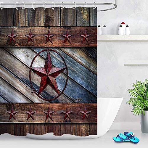 ECOTOB Rustic Barn Star Shower Curtain Decor, Country Style Farmhouse Western Texas Star on Wood Boards Shower Curtains 60X72 inch Polyester Fabric Bathroom Decorations Bath Curtains Hooks Included