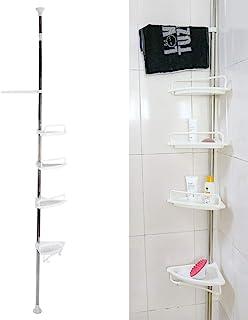 Estanteria Ducha Triángulo, Estanterías de Baño 4 Estantes Altura Ajustable Estantes para Esquinas Pared Baño Telescópica No Drill Organizador para Rinconera de Ducha con Toallero Ganchos