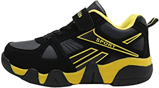 Hopscotch Boys Pu Velcro with Fixed Lace Athletic Shoes in Yellow Color