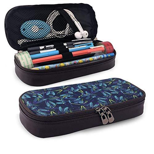 Estuche para lápices Decoración de libélula de arte azul Estuche para lápices escolares Funda para oficina Bolígrafo Caja de cremallera Conjunto de bolsa Pu Cuero Zip para niñas Niño Accesorios