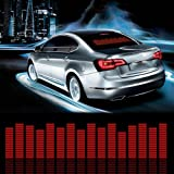 Sound Music Beat Activated Car Stickers Equalizer Glow Red LED Light Audio Voice Rhythm Lamp(90cm X 25cm)