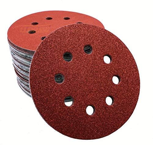 Discos de lija de 125 mm ALLDREW 12 pulgadas de papel de lija 8 agujeros almohadillas de gancho y bucle (25, grano 40, extra grueso)