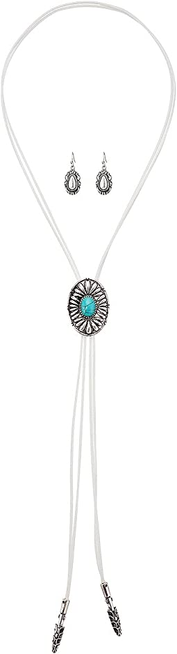 Bolo Style with Round Concho Necklace/Earrings Set