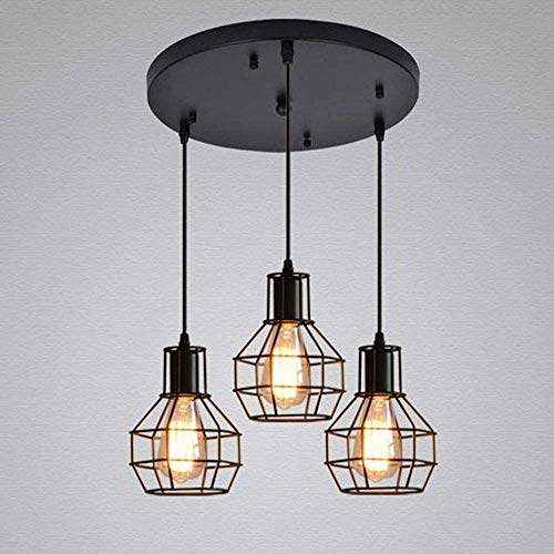 Retro jaula de metal negro 3x E27 colgante de la lámpara del techo de metal industrial iluminación de techo lámpara vieja brillo,Black