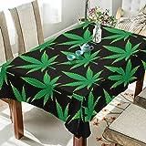 WOZO Rectangular Cannabis Marijuana Leaf Tablecloth Table Cloth Cover for Home Decor Dinner Kitchen Party Picnic Wedding Halloween Christmas 54x54 inch