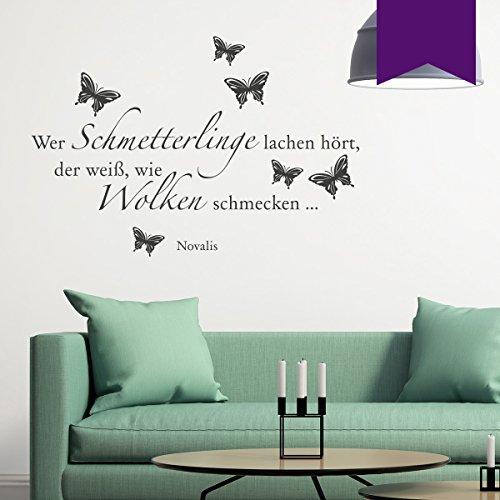 WANDKINGS Wandtattoo - Wer Schmetterlinge lachen hört, der weiß, wie Wolken schmecken … (Novalis) - 75 x 51 cm - Violett - Wähle aus 5 Größen & 35 Farben