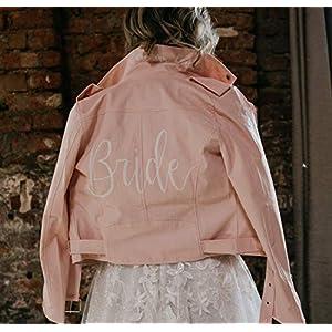 Beschriebene Lederjacke boho, personalisierte Jacke, Wedding Jacket, Jacke Braut, Lettering Jacke Handlettering