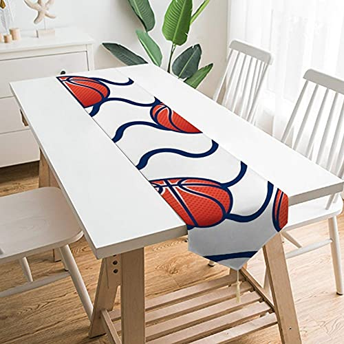 YLB 70' x 13' Table Runners, Orange Circle Basketball Line Pattern Symmetry, Table Decoration for Wedding, Table Linen Layout, Decorations Outdoor Picnics Dining Table (Size : 70' x 13')
