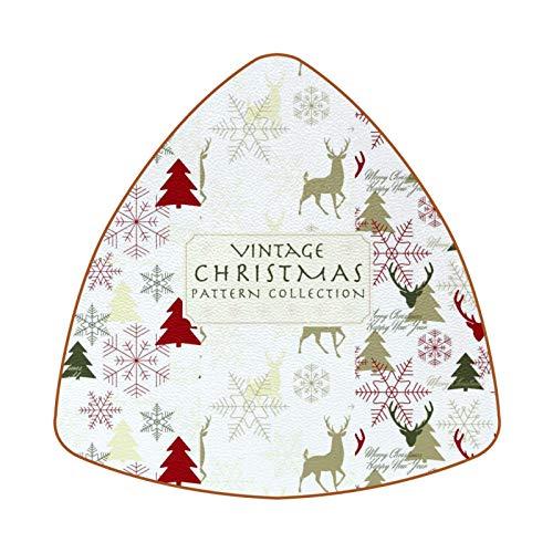 Posavasos triangulares para bebidas, diseño de ciervos, copos de nieve, árboles de abeto, taza de cuero, para proteger muebles, resistente al calor, decoración de bar de cocina, juego de 6