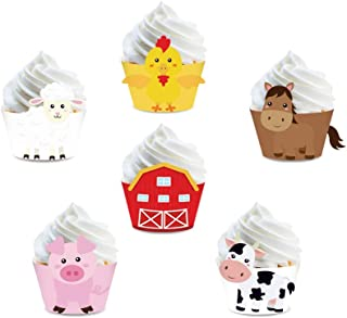 CC HOME 24 Pack of Walking Farm Animal Barnyard Cupcake Wrappers Farm Baby Shower Party Favor Holder, Farm Animal Birthday Bbq Party Décor(Pony,Barnyard,Rooster,Cow,Pig,Sheep)