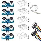 Ultrasonic Sensor, HC-SR04 Set of 5 Ultrasonic Distance Sensor Kits for Arduino UNO MEGA2560 Raspberry Pi, Dupont Jumper Wire Mounting Bracket