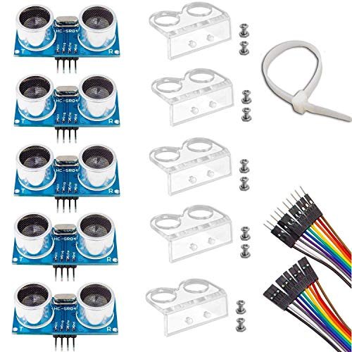 Ultrasonic Sensor, HC-SR04 Set of 5 Ultrasonic Distance Sensor Kits for Arduino UNO MEGA2560 Raspberry Pi, Dupont Jumper Wire Mounting Bracket