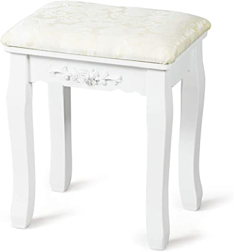 new arrival Giantex Vanity Stool Makeup Bench Dressing Stools Retro Wave new arrival Foot Floor Pad for Scratch Solid Pine Wood Legs Thick Padded Cushioned Chair Piano Seat Bathroom Bedroom lowest Large Vanity Benches, White outlet online sale