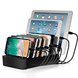 """NEXGADGET USB Charging Station Dock for Multiple Devices, 8-Port Desktop Charger,Charging Stand Organizer for Smart Phone,Tablet and Other USB Devices-8"""" Cables Included"""