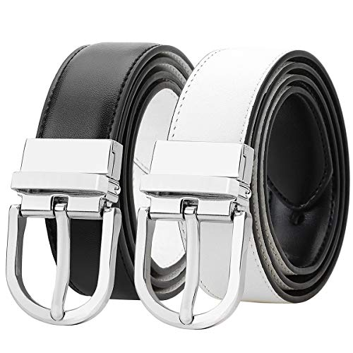 Falari Women Reversible Belt Genuine Leather Fashion Dress Belt With Single Prong Buckle 6027-WHITE-M
