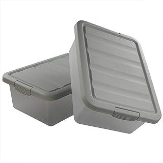 Ucake Gris Caisses Boîtes de Rangement Plastique avec Couvercle Grande, Paquet de 2