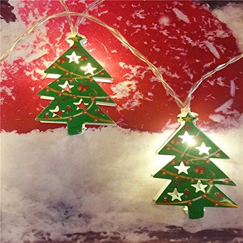 Juranting Led-lichtsnoer met kerstman, eland-alpaca, lantaarn, kerstversiering, 10 lampjes, ijzeren kerstboom, 200 cm