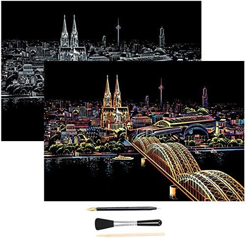 H HOMEWINS Kratzbilder 405 x 285 MM Weltberühmte Sehenswürdigkeiten Wandbild DIY Kunst Zeichnung City Night View Schwarz Beschichtet Bunte Kratzpapier mit Werkzeug Set (Kölner Dom)