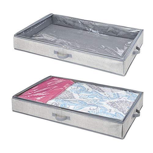 mDesign Juego de 2 Cajas organizadoras para almacenaje bajo la Cama – Organizador de Ropa, sábanas, etc. con Tapa Transparente – Cajón para Debajo de la Cama para un almacenaje Libre de Polvo – Gris