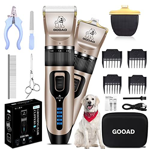 Gooad 14 Pcs Dog Clippers Low Noise 2 in 1 with USB Rechargeable 2200MA Cordless Electric Quiet Pets Hair Trimmers Set,Dog Grooming Clippers Kits Shaver Shears Dog Nail Clippers - for Dogs Cats