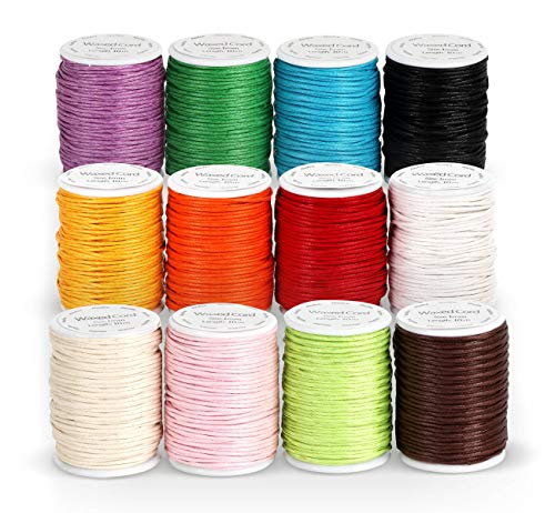 ABSOFINE 12 Rollen Gewachste Baumwollschnur Wachsband Baumwollkordel 10m Ø 1mm für Schmuckherstellung DIY Handwerk Machen