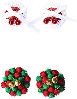 FENICAL 2 Pairs Nipple Cover Reusable Silicone Breast Petals Pasties in Sequin with Christmas Jingle Bells and pom pom Balls Shape Red,White