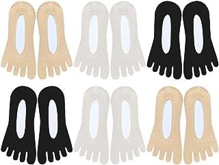 10 Pares de Calcetines sin Dedos Del Pie Calcetines de Cinco Dedos Calcetines de Corte Bajo con Lengüeta de Gel Antideslizante Oculto Invisible para Pisos Barco Verano (Color Aleatorio)
