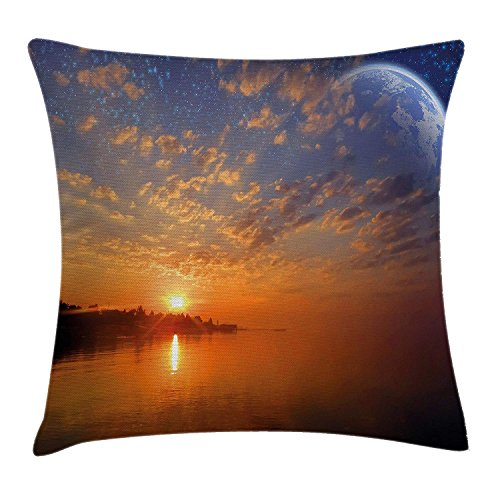 MLNHY Space Decor Throw Pillow Cushion Cover, Exquisite Skyline with Planet Reflection and Sunrise on Backdrop Galaxy Design, Decorative Square Accent Pillow Case, 18 X 18 inches, Orange Blue