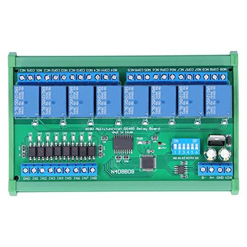 Relé de caja de carril, módulo N4D8B08-R de 8 entradas y 8 salidas, placa de expansión PLC DIN35, con carcasa RS485 12V, protocolo Modbus RTU, placa de relés