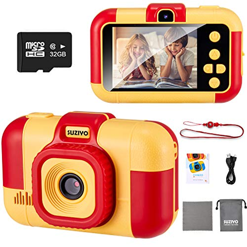 SUZIYO Kids Digital Camera, Children Video Camcorder 1080P Dual Lens 2.4 Inch HD, Best Christmas Electronic Gifts Toys for Age 3-10 Years Old Boys & Girls Toddlers (with 32G Micro SD Card, Red)