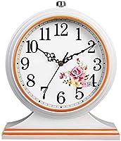 マントル時計、卓上時計デスククロックリビングルームクリエイティブデスクデコレーションミュートクロックデジタル時計、白、27.5x31.5x27cm
