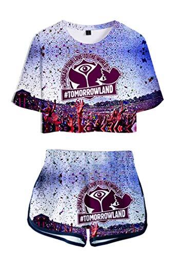 AMOMA Sommer Damen Mädchen Tomorrowland Digitaldruck Crop Top und Shorts Zweiteilige Sets Trainingsanzug(S,Color01)