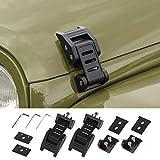 Voodonala for Jeep JK Black Stainless Steel Hood Catch Latches for 2007-2018 Jeep Wrangler JK JKU