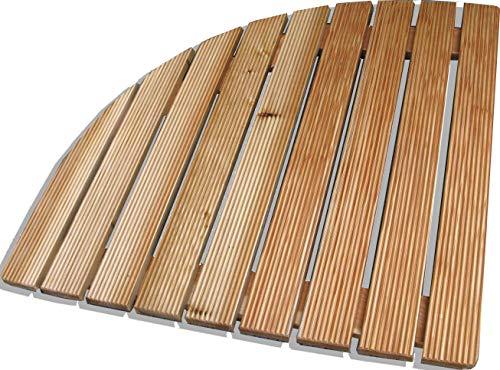 Castelmerlino 78 - Plataforma de Ducha Angular de alerce con láminas atornilladas, Lado de 74 cm, para Platos angulares de 90 cm