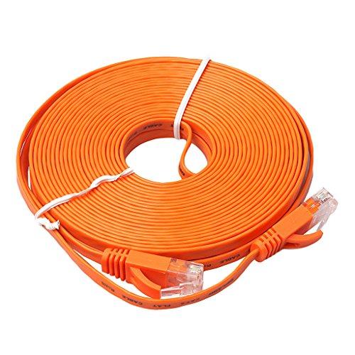 Lan Kabel - Cable Ethernet plano (10 m, Cat6, Gigabit Lan, RJ45, 1 Gbps, STP, para conmutador, router, módem, panel de conexiones, punto de acceso, plano), color negro