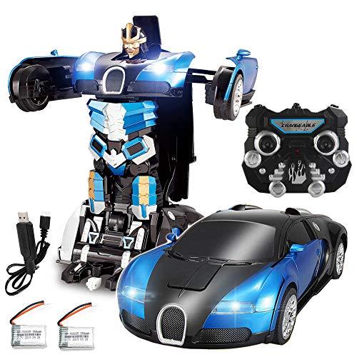 2.4Ghz Transformator Ferngesteuertes Auto - Sprechendes Auto Bot RC Drifting Auto & Roboter - Sound FX Lights - One Touch Transform - PL9131 Wiederaufladbares Funkgesteuertes RC Auto - Blau