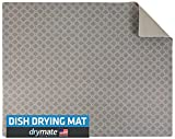 """Drymate Premium Dish Drying Mat, XL Size (19"""" x 24""""), Absorbent Fabric Low-Profile Kitchen Drying Pad – Waterproof – Machine Washable/Durable (Made in the USA) (Taupe Diamond Squares)"""